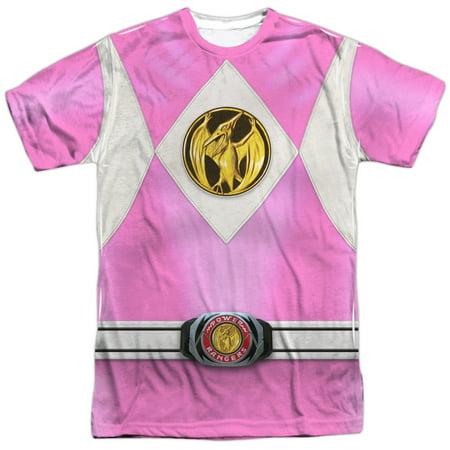 Mighty Morphin Power Rangers Pink Ranger Emblem Mens Sublimation Shirt