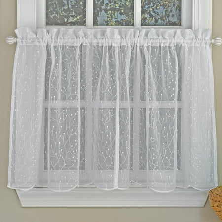 Floral Spray Semi Sheer Kitchen Window Curtain Tier Pair or Valance White