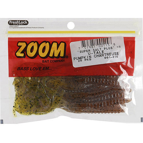 Zoom U-Tail Worm, Pumpkin Chartreuse, 20ct