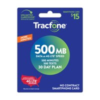 TracFone $15 Smartphone 500 MB Plan (Email Delivery)