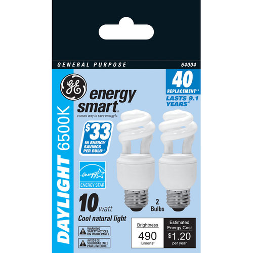 GE Energy Smart 10W Daylight Compact Fluorescent Bulbs, 12 Bulbs