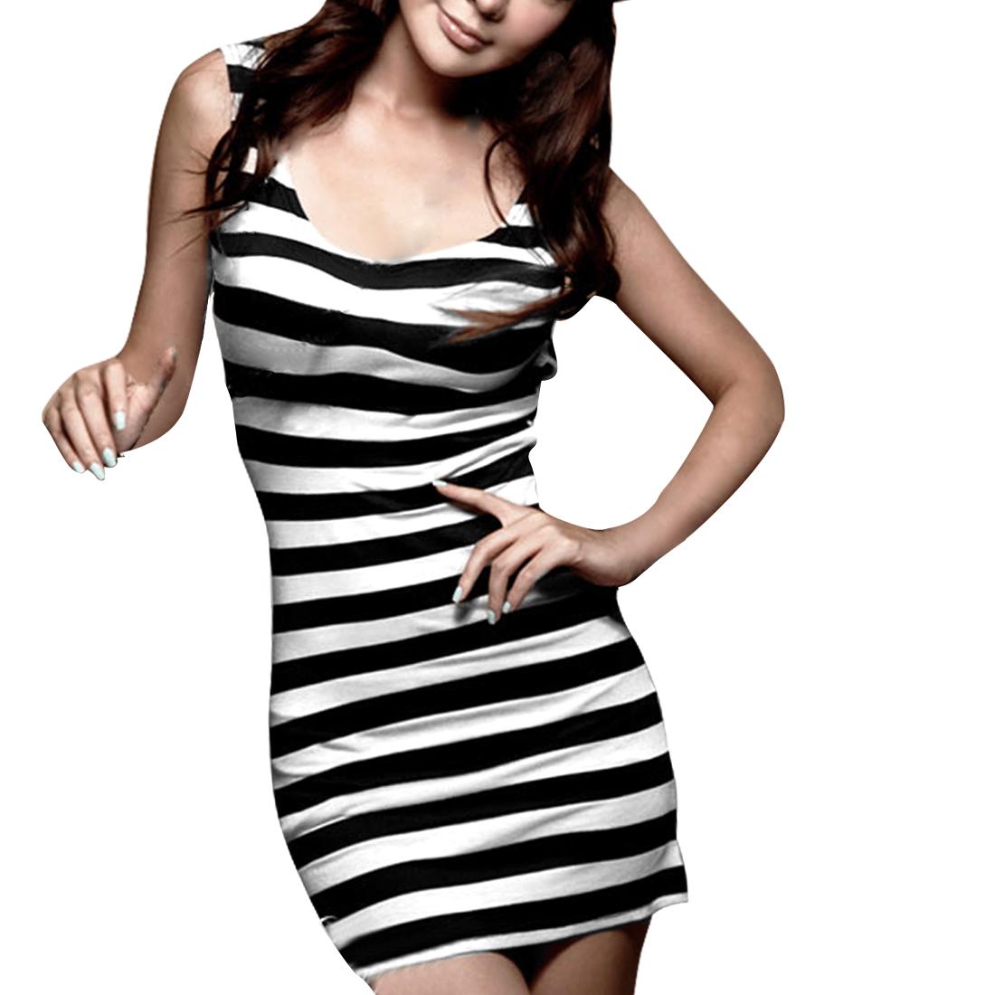 Allegra K Women's Black White Backless Stripes Pullover Slim Fit Tank Dress (Size L / 12)
