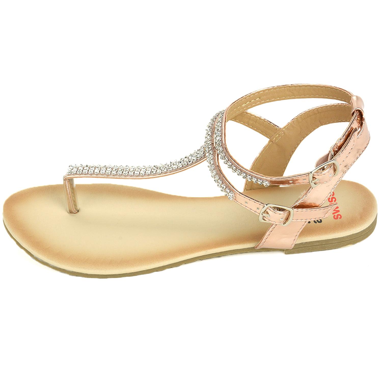 2b6bebb2a0f6 Alpine Swiss Women s Gladiator Sandals T-Strap Slingback Roman Rhinestone  Flats - Walmart.com