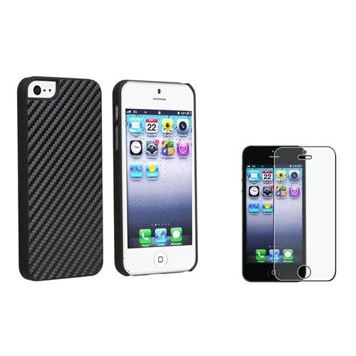 INSTEN Black Carbon Fiber Rear Clip-on Hard Case for Apple iPhone 5 5G 5s + Anti-glare Protector