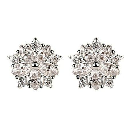 Fancyleo Hot Romantic Pink Crystal Zircon Cherry Blossom Flower Stud Earrings For Women Girl Fashion Jewelry Valentine's Day Gifts Cherry Quartz Flower Earrings