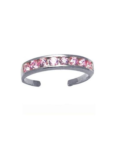 ROUND Channel-Set PINK CZ Eternity Band 14K White Gold Toe Ring