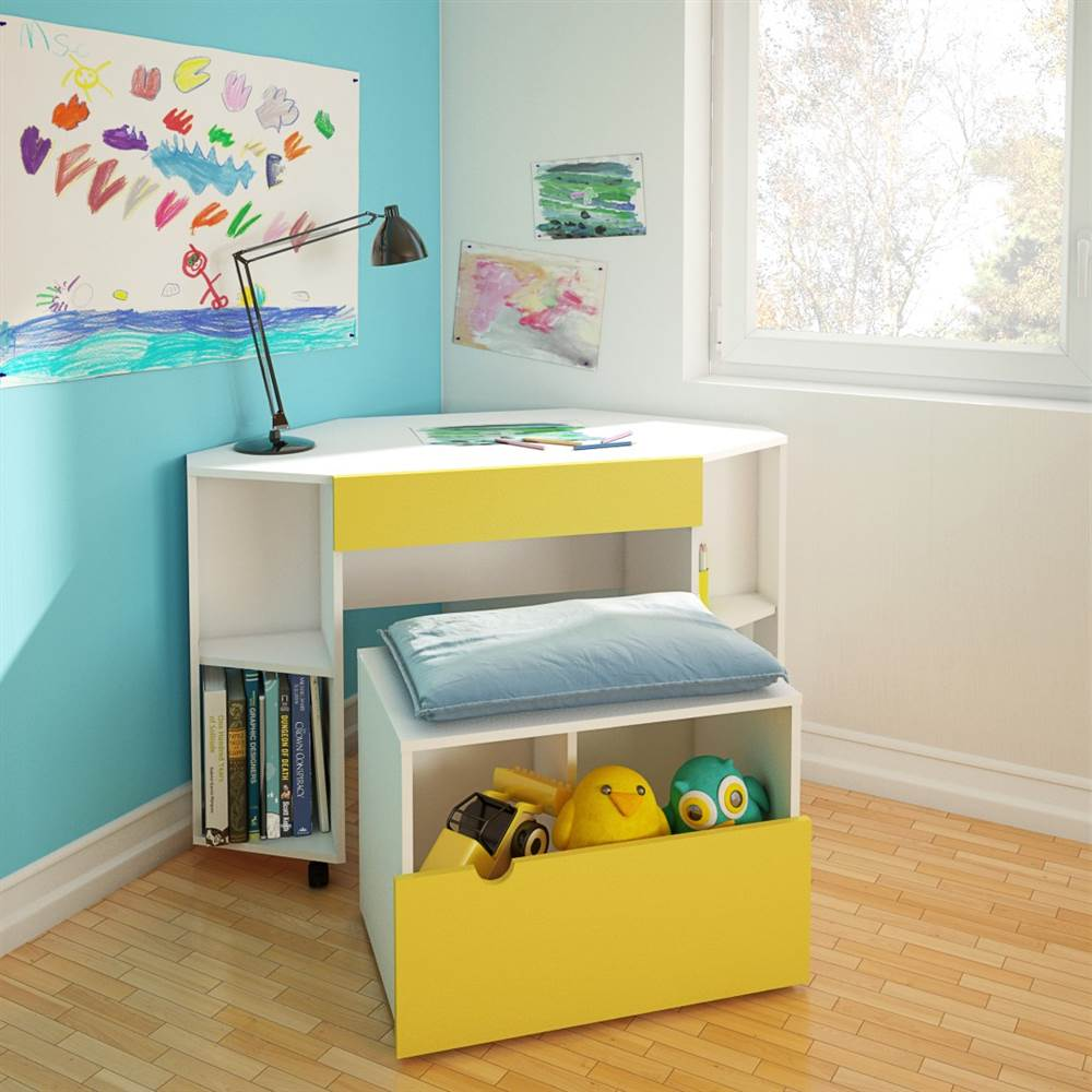 2-Pc Eco-Friendly Home Office Set in Yellow