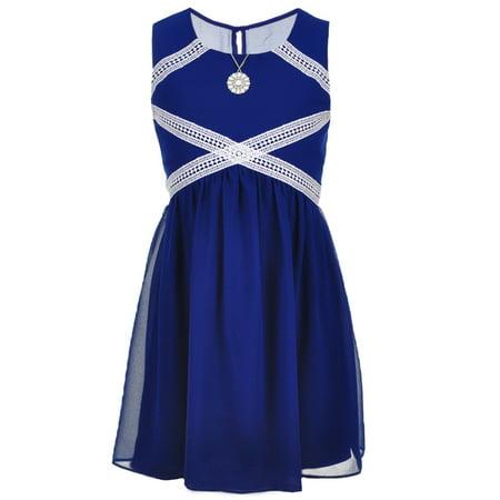 556f1edf9419 AMY BYER - Amy Byer Big Girls  Dress with Necklace (Sizes 7 - 16) -  Walmart.com