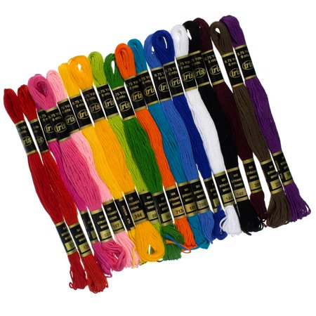 Craft County Cotton Floss for DIY Embroidery - Multicolor Variety Pack - 36 Skeins of Thread