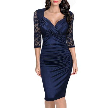 MISSMAY - MISSMAY Women s Deep-V Neck Ruffles Floral Lace Fitted ... ca730113b