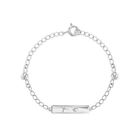 Heart Tag Chain Bracelet (Silver Plated Chain Link Heart Tag Kids Girls Children's Bracelet 6
