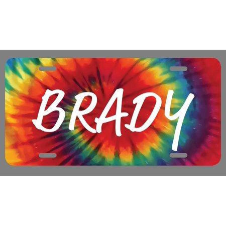 Brady Name Tie Dye Style License Plate Tag Vanity Novelty Metal | UV Printed Metal | 6-Inches By 12-Inches | Car Truck RV Trailer Wall Shop Man Cave | NP1623