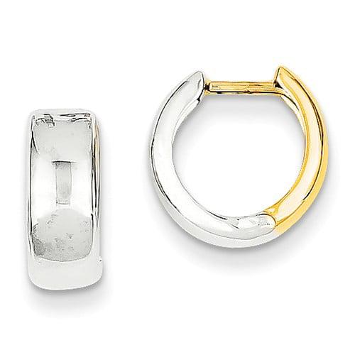 14k Two Tone Gold Hinged Hinged Hoop Huggie Earrings (10MM Long x 5