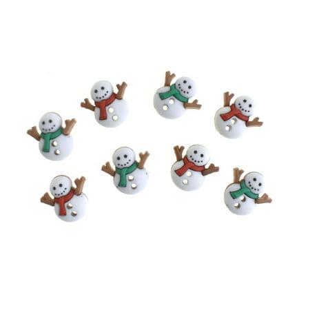 Winter Snowmen in Scarves Buttons, 5/8-Inch, 8-Piece (Firefly Winter)