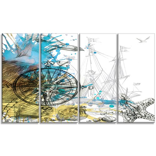 Design Art Marine Background Illustration Animal 4 Piece Graphic Art on Wrapped Canvas Set