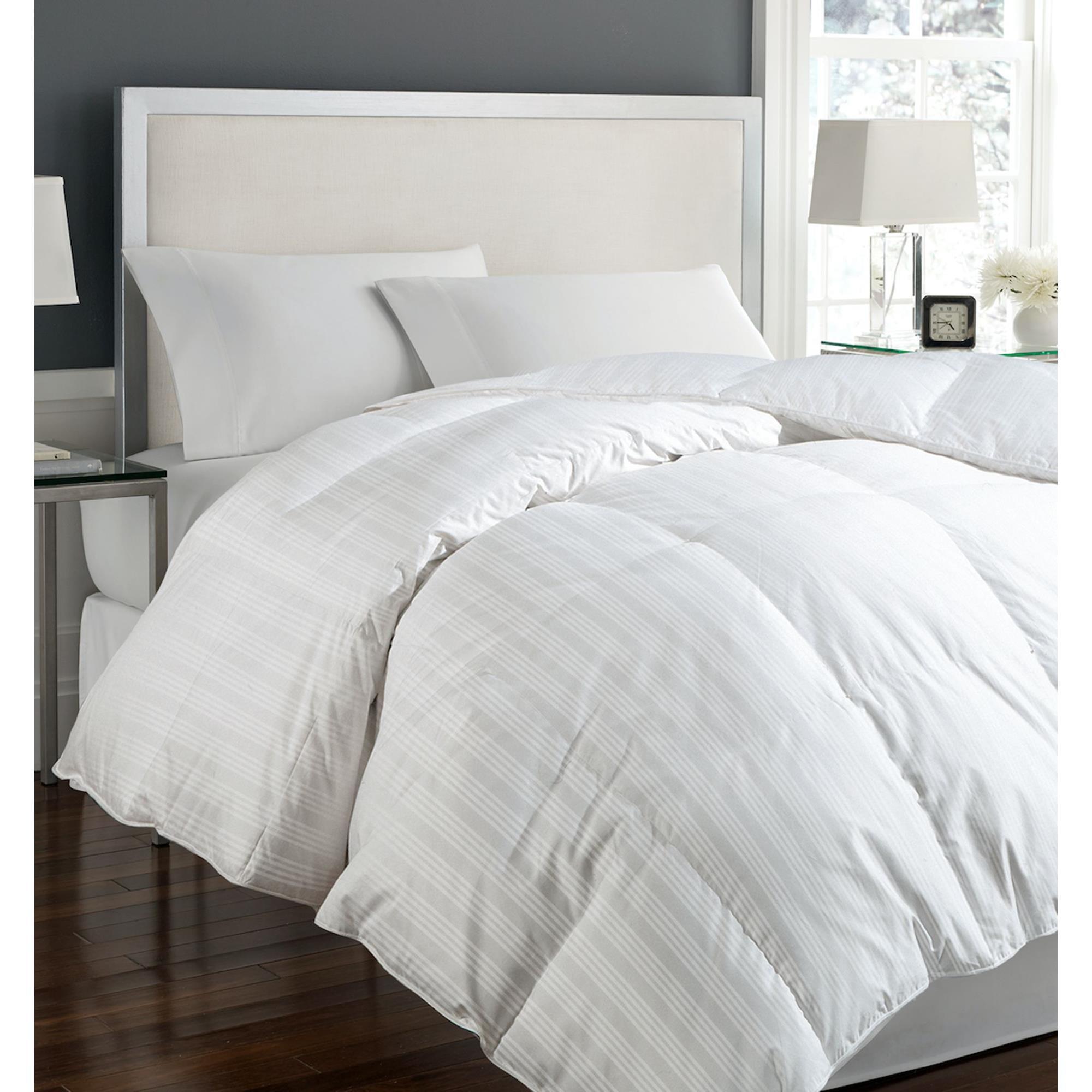 400T 100% Cotton Tuxedo Damask Cover White Down Comforter...