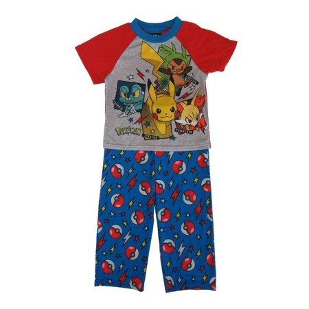 Pokemon Little Boys Blue Red Characters Short Sleeve 2 Pcs Pajama Set - Pokemon Boy Characters