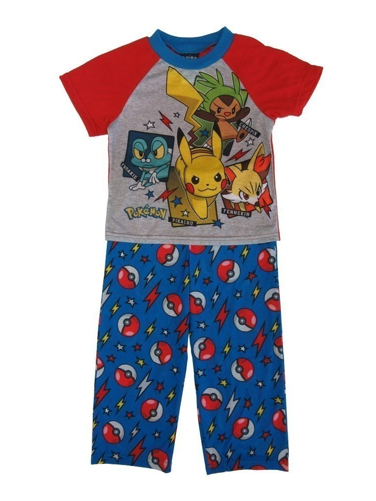 Pokemon Little Boys Blue Red Characters Short Sleeve 2 Pcs Pajama Set