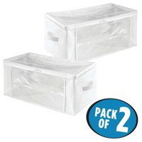 InterDesign Fabric Foldable Storage Zipper Bags for Clothing 2 pk, Lg, White