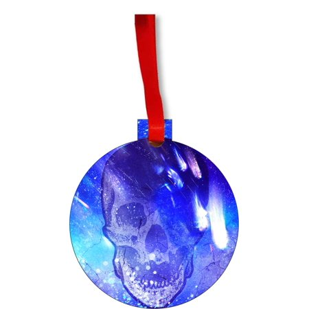 Ornaments Aqua Blue Grunge Cracked Skull Round Shaped Flat Hardboard Christmas Ornament Tree Decoration - Unique Modern Novelty Tree Décor - Cracked Skull