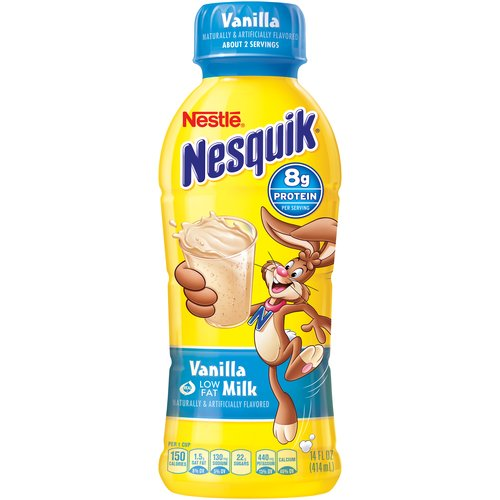 Nesquik Vanilla Flavored Low Fat Milk, 14 oz