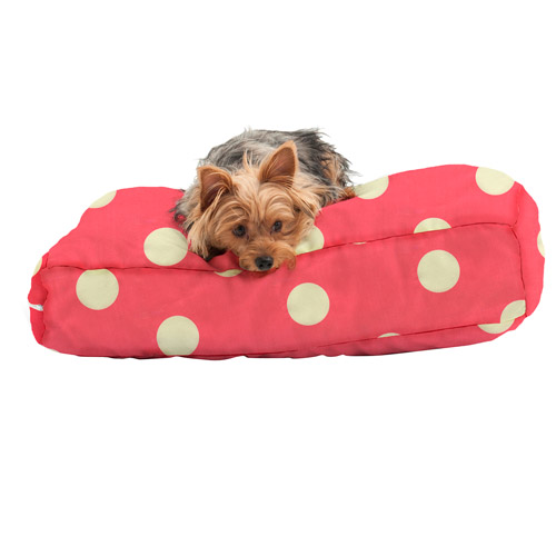 """WufFuf Pet Bed with Liner, 24""""L x 18""""W x 5""""H, Oxygen Candy Pink with White Dots"""