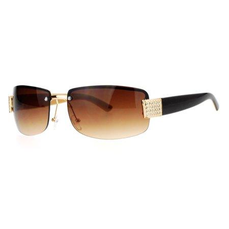 8275b635ab01 SA106 - SA106 Rimless Rhinestone Jewel Hinge Luxury Bling Sunglasses Brown  Beige - Walmart.com