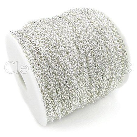 CleverDelights Cable Chain Spool - 330 Feet - Shiny Silver Color - 2x3mm (Shiny Silver Plated)