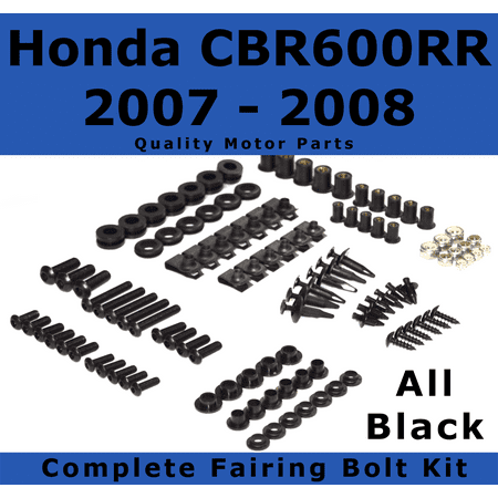 - Complete Black Fairing Bolt Kit for Honda CBR600RR 2007 - 2008 body screws fasteners Stainless