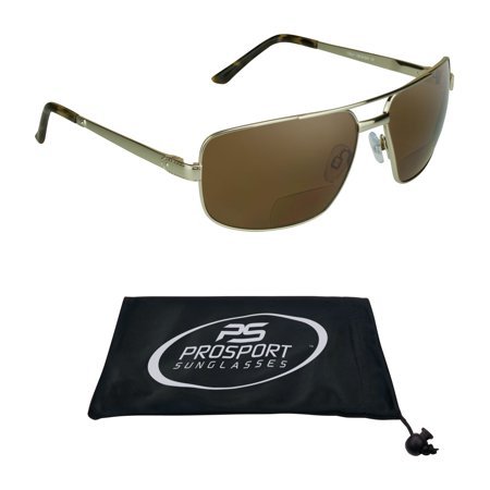 proSPORT Square Aviator POLARIZED Bifocal Brown Lens Sunglasses with Gold Frame. Nearly Invisible Reading (Gold Square Aviator Sunglasses)