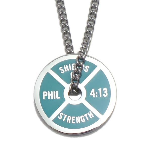 Men's Stainless Steel Aqua Blue Weight Plate Necklace-Phil 4:13 ®2013, ©2013