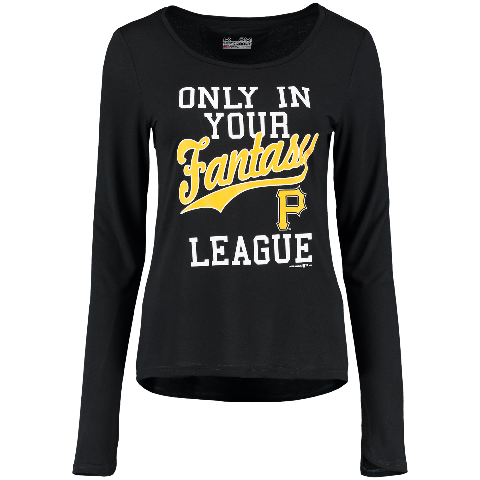 Pittsburgh Pirates Under Armour Women's Only in Your Fantasy Long Sleeve Performance T-Shirt - Black