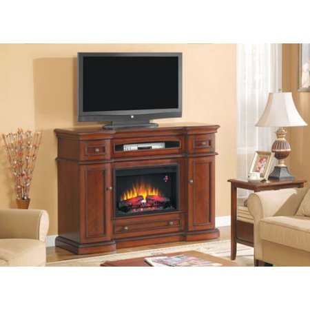Montgomery TV Stand w/ 25″ Curved IR Quartz Fireplace, Vintage Cherry