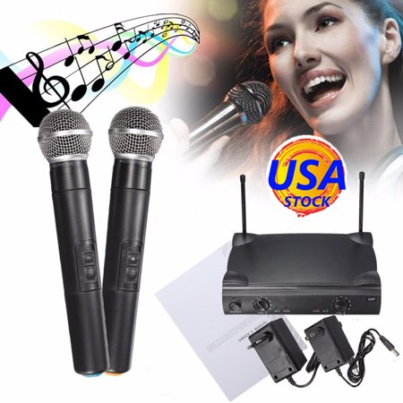 ELEGIANT VHF Wireless Dual Channel Microphone System with Adjustable Volume Control 2 Handheld Cordless Microphone for Home KTV Conference Karaoke Recording