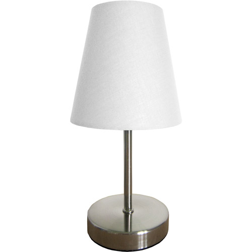 Simple Designs Sand Nickel Mini Basic Table Lamp with Fabric Shade ...