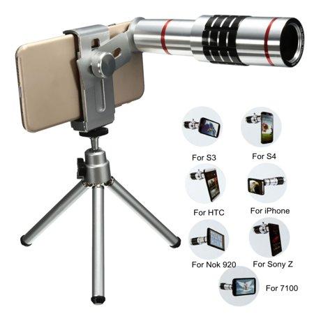 Universal 18x Optical Zoom Telescope Camera Lens Kit 18XOptical Telescope Monocular Telescope With Mini Tripod for Samsung Galaxy Note 8 S9/S8/S8 Plus/S7 Edge/S7, for iPhone X 8 Plus 8 100 X Zoom Mini