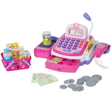 BCP Pretend Play Electronic Cash Register Toy Realistic Actions & (Best Cash Register For Coffee Shop)