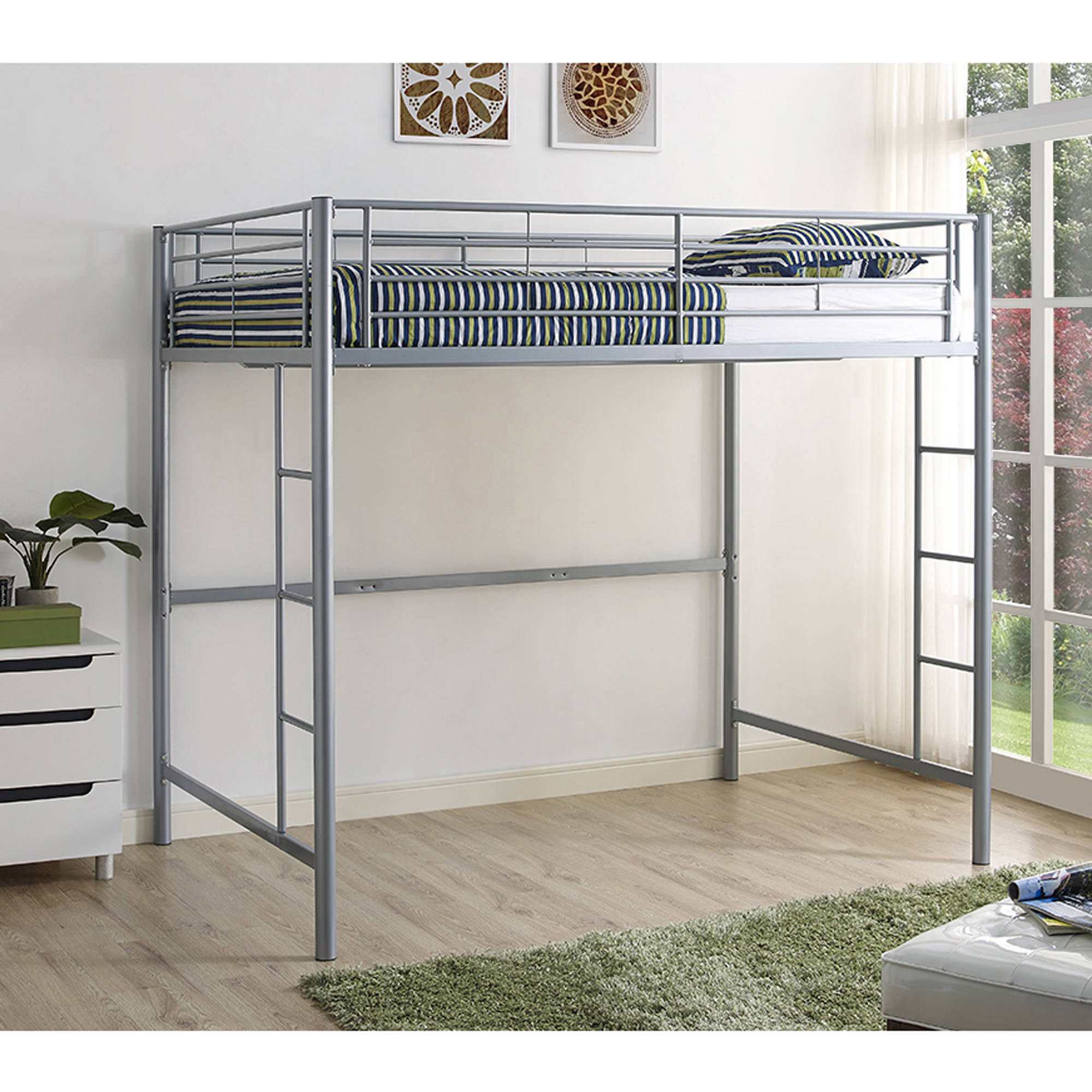 Walker Edison Full Size Metal Loft Bed - Silver