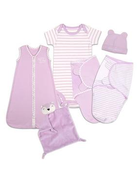 Baby Girl Layette 6-Piece Gift Set - Purple Sleep Bag, Swaddles, Bodysuit, Hat, and Blanket