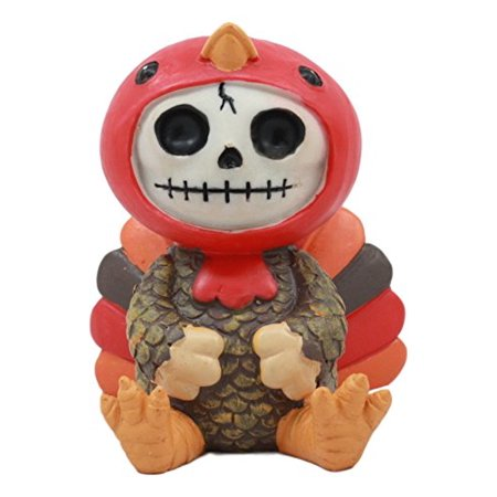 Ebros Furry Bones Thanksgiving Turkey Gobbler Costumed Skeleton Figurine 2.75