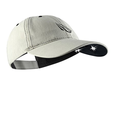 Powercap 2510 Unstructured Outdoor Cotton Hat with LED lights, Stone w/Black stitching