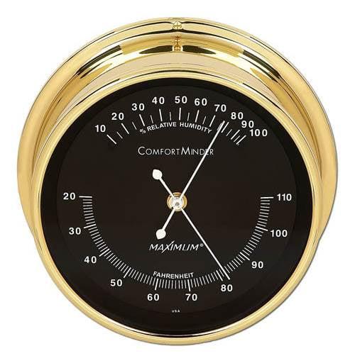 Comfortminder Hygrometer Brass & Black by Maximum