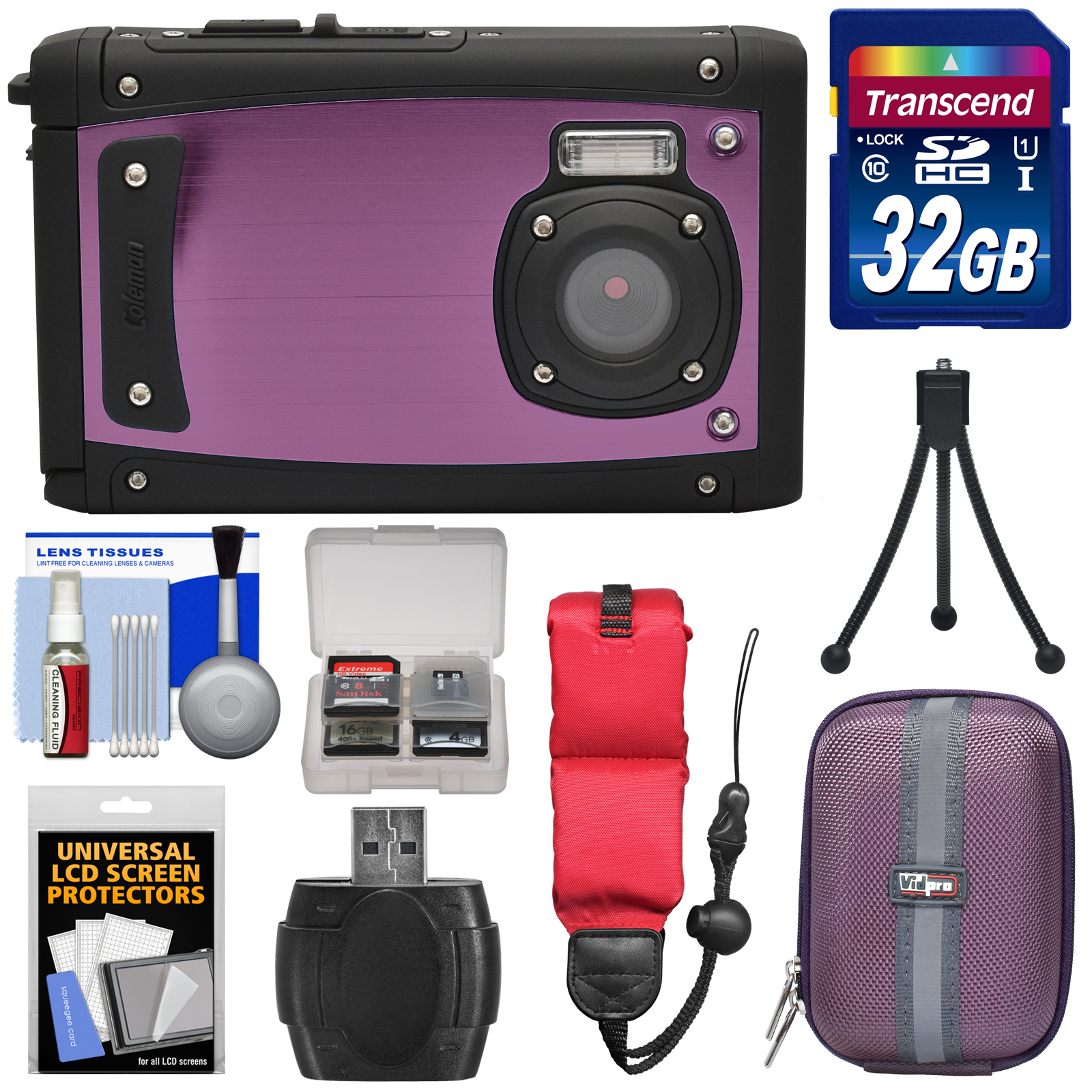 Coleman Venture HD C40WP Shock & Waterproof Digital Camera (Red) with 32GB Card + Case + Float Strap + Tripod + Kit