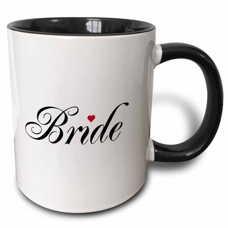 3dRose Bride with red love heart part of a bride and groom set - wedding marriage married hen bachelorette, Two Tone Black Mug, 11oz](Wedding Mugs)
