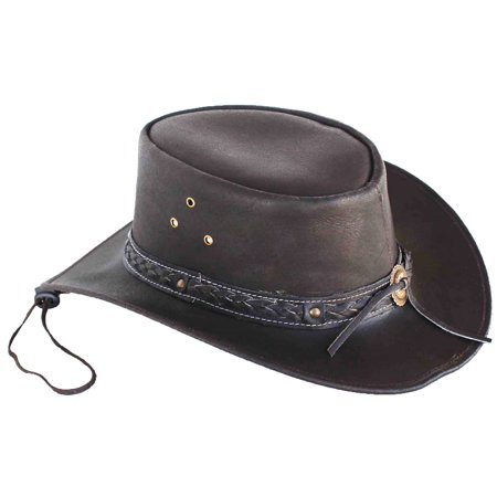 Horse Large Western Cowboy Indiana Jones Crushable Oiled Leather Outback Hat - Horse Hat