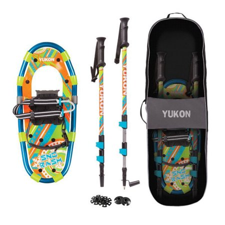 - Yukon Charlie's Sno Bash Youth Kids Hiking Aluminum Snowshoe Kit w/ Poles & Bag