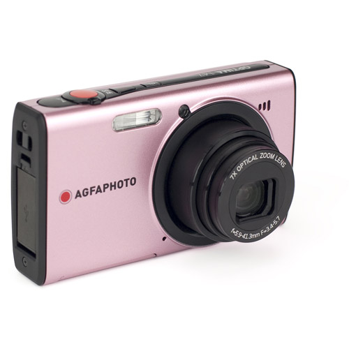 "AgfaPhoto Optima 147 14.1 MP Digital Camera with 7X Optical Zoom, 3.0"" Auto Brightness LCD Display and Bundled ArcSoft MediaImpressions 3D Software, Pink"