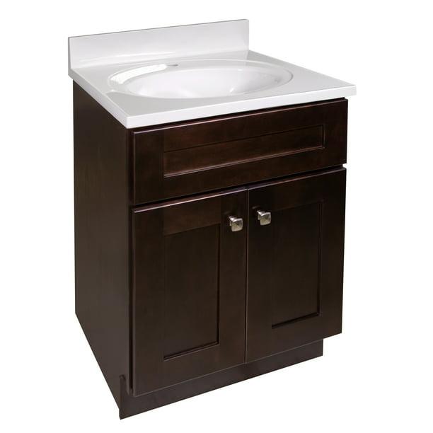 Design House Brookings 25 Inch Unassembled 2 Door Bathroom Vanity In Espresso With Cultured Marble Solid White Top Walmart Com Walmart Com