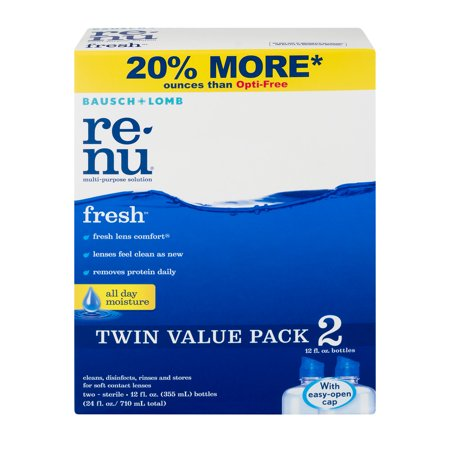 ReNu Clean, Disinfects, Rinses and Stores Soft Contact Lenses - 2 PK, 12.0 FL OZ
