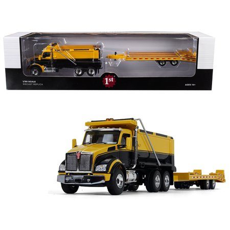 - Kenworth T880 Tandem Axle Dump Truck with Beavertail Trailer Yellow/ Black 1/50 Diecast Model by First Gear